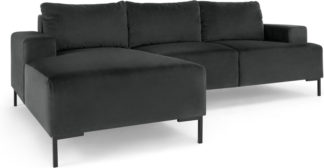 An Image of Frederik 3 Seater Left Hand Facing Compact Corner Chaise End Sofa, Midnight Grey Velvet