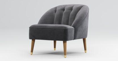 An Image of Custom MADE Margot Armchair, Pewter Grey Velvet, Light Wood Brass Leg