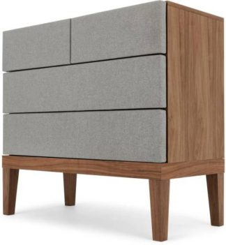An Image of Lansdowne Upholstered Chest Of Drawers, Walnut and Heron Grey