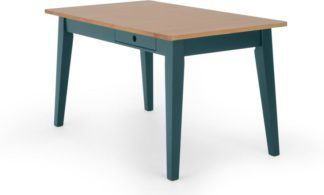 An Image of Ralph 6 Seat Compact Dining Table, Oak and Teal