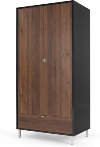 An Image of Latymer Wardrobe, Walnut Effect and Black Gloss