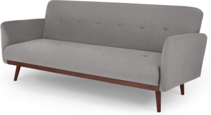 An Image of Stevie Click Clack Sofa Bed, Marshmallow Grey and Walnut Legs