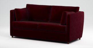 An Image of Custom MADE Milner Sofa Bed with Foam Mattress, Shiraz Burgundy Velvet