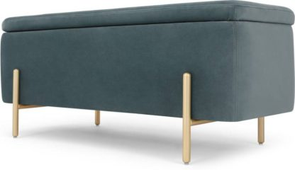 An Image of Asare upholstered storage bench, Marine Green Velvet and Brass