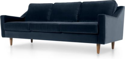 An Image of Dallas 3 Seater Sofa, Navy Cotton Velvet