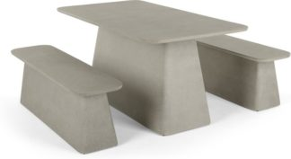 An Image of Kalaw Garden Dining Table and Bench Set, Concrete
