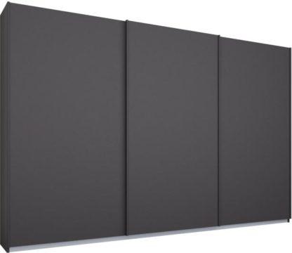 An Image of Malix 3 door 270cm Sliding Wardrobe, Graphite Grey frame,Matt Graphite Grey doors, Standard Interior