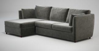 An Image of Custom MADE Milner Left Hand Facing Corner Storage Sofa Bed with Memory Foam Mattress, Steel Grey Velvet