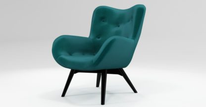 An Image of Custom MADE Doris Accent Chair, Tuscan Teal Velvet with Black Wood Leg