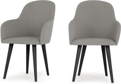 An Image of Set of 2 Stig High Back Carver Dining Chairs, Manhattan Grey and Black