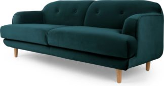An Image of Gracie 3 Seater Sofa, Seafoam Blue Velvet