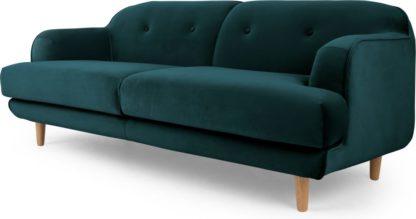 An Image of Gracie 3 Seater Sofa, Seafoam Blue Velvet