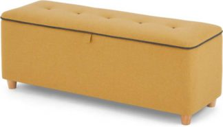An Image of Burcot Upholstered Storage Bench, Yellow with Contrast Grey Piping