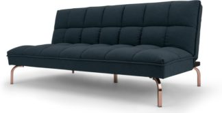 An Image of Hallie Sofa Bed, Aegean Blue with Copper Legs