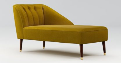 An Image of Custom MADE Margot Right Hand Facing Chaise, Antique Gold Cotton Velvet with Dark Wood Brass Leg