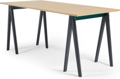 An Image of MADE Essentials Hurst Trestle Large Rectangular Dining Table, Oak and Grey
