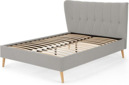 An Image of Charley King Size Bed, Hail Grey and Oak Legs