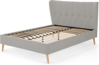 An Image of Charley Double Bed, Hail Grey and Oak Legs