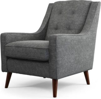An Image of Content by Terence Conran Tobias, Armchair, Textured Weave Slate, Dark Wood Leg