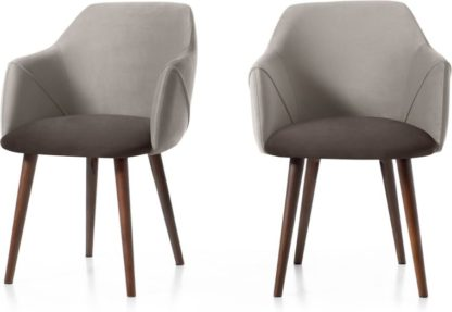 An Image of Set of 2 Lule Carver Dining Chairs, Light and Dark Grey Velvet