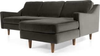 An Image of Dallas Right Hand Facing Chaise End Corner Sofa, Concrete Cotton Velvet