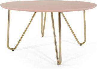 An Image of Eibar Coffee Table, Pink and Brass