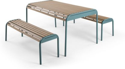 An Image of Mead Garden Outdoor Bench Set, Graphite Blue