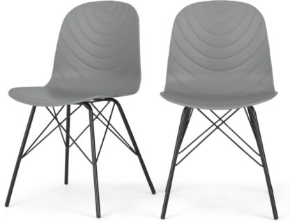 An Image of Set of 2 Mavis Dining Chairs, Grey and Black