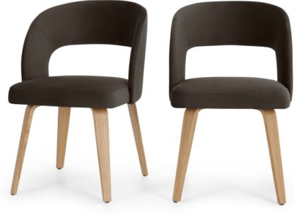 An Image of Set of 2 Enid Dining Dining Chairs, Otter Grey Velvet