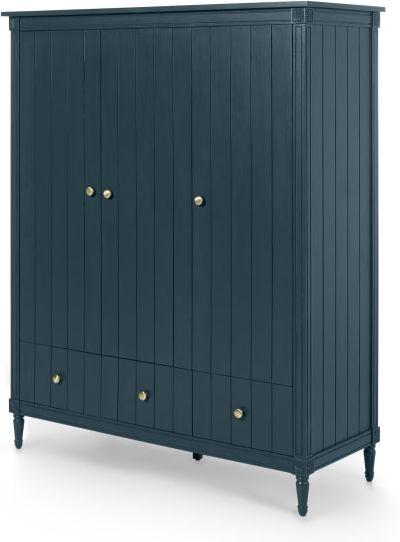 An Image of Bourbon 3 Door Triple Wardrobe, Vintage Blue