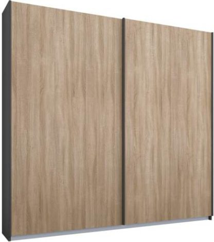 An Image of Malix 2 door 181cm Sliding Wardrobe, Graphite Grey frame,Oak doors, Standard Interior