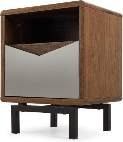 An Image of Louis Bedside Table, Walnut and Charcoal