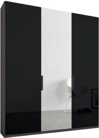 An Image of Caren 3 door 150cm Hinged Wardrobe, Graphite Grey Frame, Basalt Grey Glass & Mirror Doors, Classic Interior