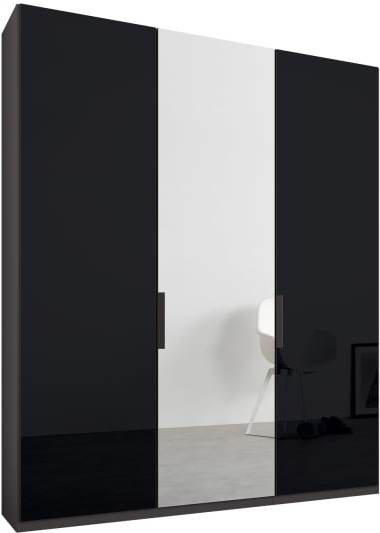 An Image of Caren 3 door 150cm Hinged Wardrobe, Graphite Grey Frame, Basalt Grey Glass & Mirror Doors, Standard Interior