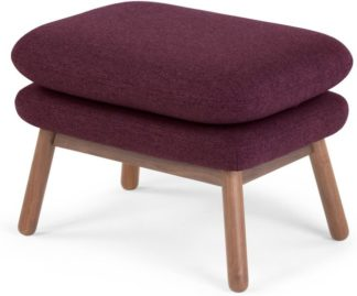 An Image of Oslo Footstool, Malbec with Dark Stained Oak Legs