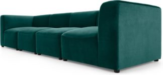 An Image of Juno 4 Seater Modular Sofa, Seafoam Blue Velvet