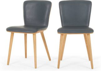 An Image of Set of 2 Geoffrey Dining chairs, Oak and PU Leather Look