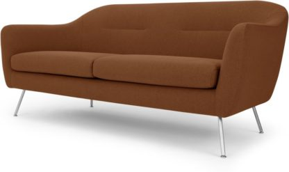 An Image of Reece 3 Seater Sofa, Mina Burnt Orange with Metal Legs