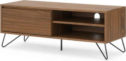An Image of Cerian Wide TV Stand, Walnut and Black