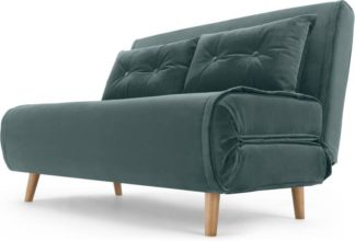 An Image of Haru Small Sofa Bed, Marine Green Velvet