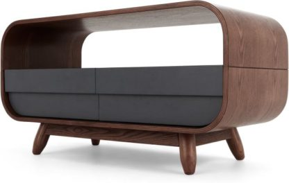 An Image of Esme Compact TV Stand, Dark Stain Ash and Grey