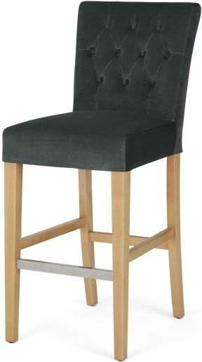 An Image of Flynn Bar Stool, Midnight Grey Velvet and Birch