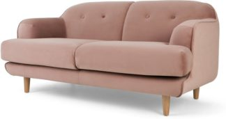 An Image of Gracie 2 Seater Sofa, Vintage Pink Velvet