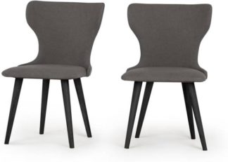 An Image of Set of 2 Bjorg Dining Chairs, Manhattan Grey and Black