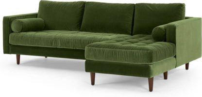 An Image of Scott 4 Seater Right Hand Facing Chaise End Corner Sofa, Grass Cotton Velvet