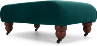 An Image of Orson Footstool, Seafoam Blue Velvet