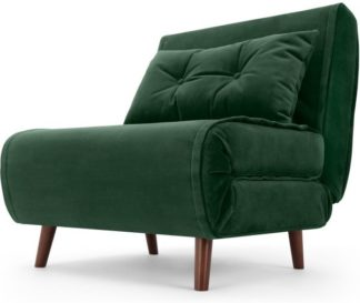 An Image of Haru Single Sofa Bed, Pine Green Velvet