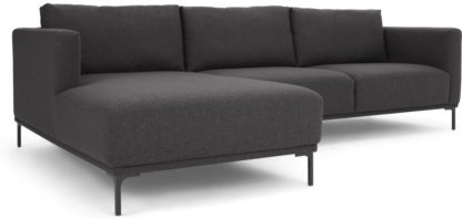An Image of Milo Left Hand Facing Chaise End Corner Sofa, Space Grey