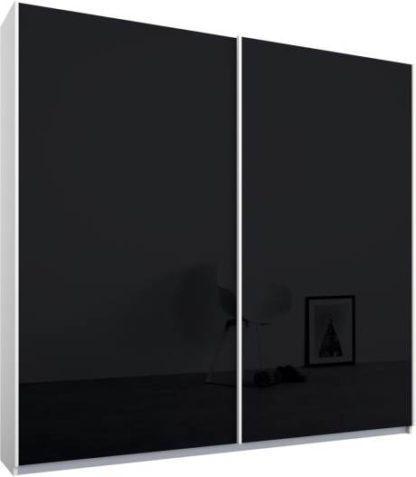 An Image of Malix 2 door 181cm Sliding Wardrobe, White frame,Basalt Grey Glass doors, Standard Interior