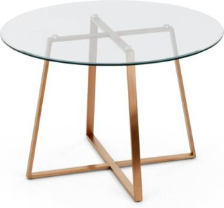 An Image of Haku 4 Seat Round Large Dining Table, Copper and Glass